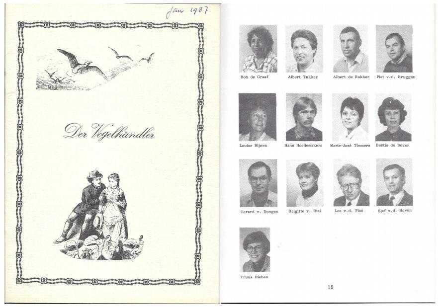 Programmaboekje Der Vogelhändler 1987 voorkant en rolverdeling